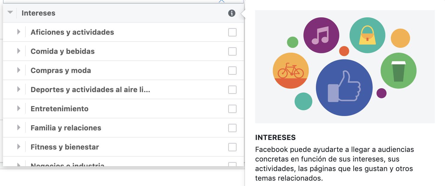 Segmentación de audiencia por intereses Facebook
